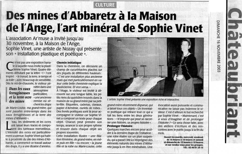 article maison de l'ange 2003