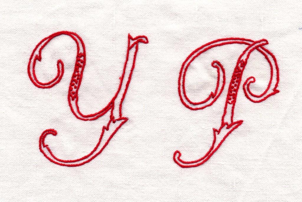 initiales brodées pour le projet