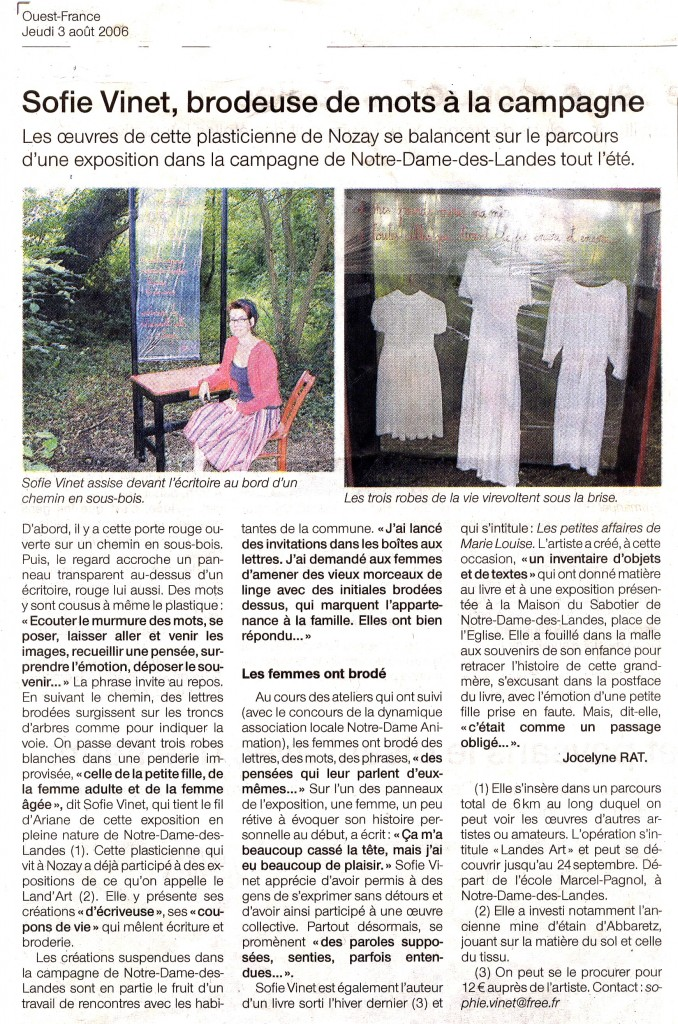 4article n°2 landes arts N D L 2006