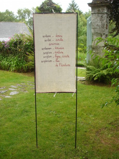 scriptura, lin brodé, H80cm L50cm